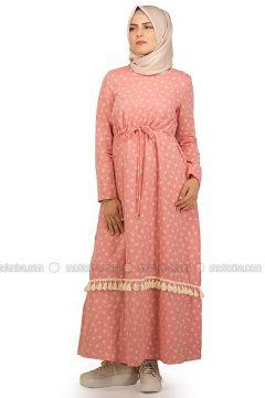 Pink - Floral - Crew neck - Unlined - Dresses - NAKŞİN(110339679)