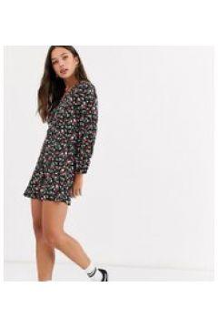 Wednesday\'s Girl - Vestito da giorno corto a fiori vintage con bottoni sul davanti-Nero(120328467)
