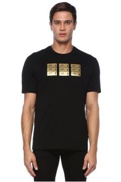 Versace Erkek Siyah Gold Logo Detaylı Basic T-shirt S EU(120885130)