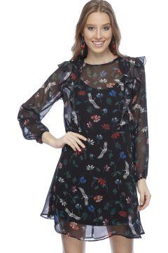 Black Pepper Siyah Çiçek Desenli Fırfırlı Elbise(113957102)
