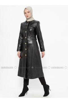 Black - Fully Lined - Crew neck - Topcoat - Tekbir(110335680)