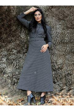 Black - Checkered - Point Collar - Unlined - Dresses - Gizem Kış(110334910)
