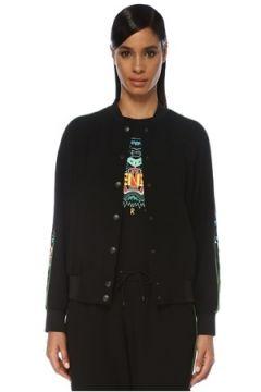 Kenzo Kadın Siyah Desenli Şerit Detaylı Ceket Yeşil XS EU(120138766)