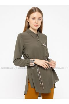 Khaki - Plaid - Point Collar - Tunic - REPP(110339130)