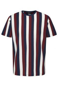 SELECTED Randig Rundringad - T-shirt Man Röd(111098007)