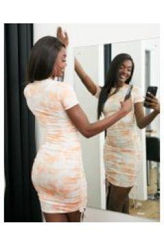 Fashionkilla - Vestito corto arancione tie-dye arricciato di lato(121394462)