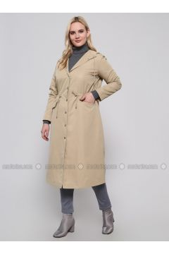 Beige - Fully Lined - Polo neck - Plus Size Trench coat - Alia(110318431)
