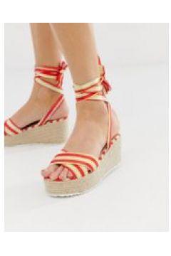 Glamorous - Rot gestreifte Espadrille-Sandalen mit Keilabsatz und Schnürdesign - Rot(90532485)