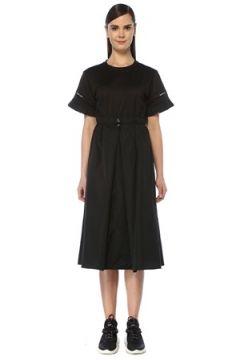 Moncler Kadın Siyah Garnili Fırfır Detaylı Midi Elbise S EU(109265141)