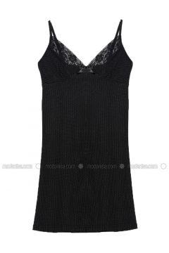 Black - Multi - V neck Collar - Viscose - Nightdress - Elitol(110319558)