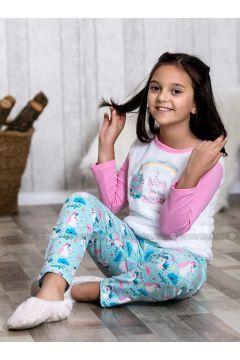 Pink - Crew neck - Multi - Kids Pijamas - Lingabooms(110313100)