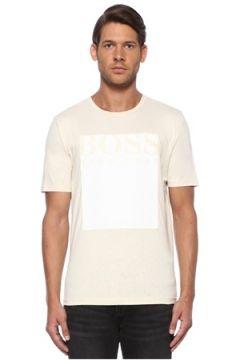 Boss Erkek Ekru Logo Baskılı Garnili Casual T-shirt Bej M EU(116665488)