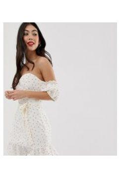 Glamorous Petite - Vestitino a pois con scollo alla Bardot e maniche a sbuffo-Bianco(120541605)
