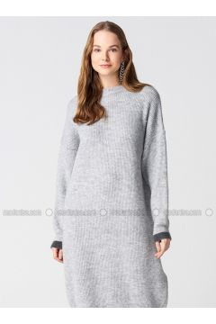 Gray - Smoke-coloured - Crew neck - Unlined -- Dresses - Dilvin(110327583)
