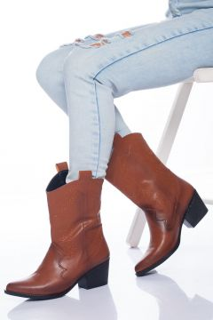 Ayakkabı Frekansı Kadın Taba Steven Çizme Cilt(118492059)