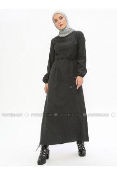 Smoke-coloured - Crew neck - Unlined - Cotton - Dresses - Beha Tesettür(110328330)