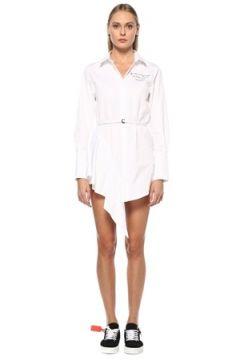 Off-White Kadın Beyaz Polo Yaka Volan Detaylı Mini Gömlek Elbise 42 IT(123840725)