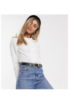 Reclaimed Vintage Inspired - Camicia aderente bianca con colletto a volant-Bianco(120374494)