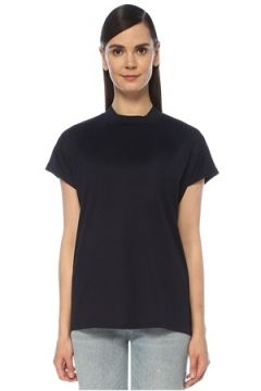 Outpost Kadın Lacivert Dik Yaka Kısa Kol T-shirt S(118330077)
