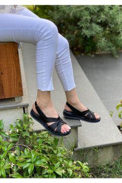 DİVA Kadın Siyah Deri Ortopedik Günlük Sandalet(124210193)