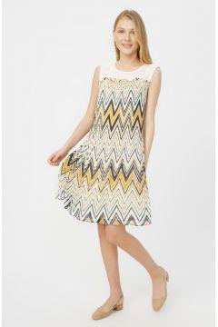 Naramaxx Bej Zik Zak Desenli Elbise(116366780)
