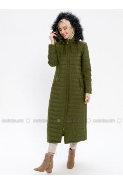 Green - Fully Lined - Polo neck - Puffer Jackets - ECESUN(110337606)