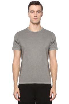 Academia Erkek Gri Yıpratma Detaylı Basic T-shirt XS EU(123205139)