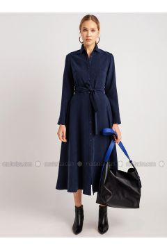 Navy Blue - Point Collar - Dresses - NG Style(110341245)