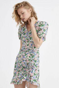Kadın Appleline Çiçek Desenli Fırfırlı Poplin Elbise(126604047)