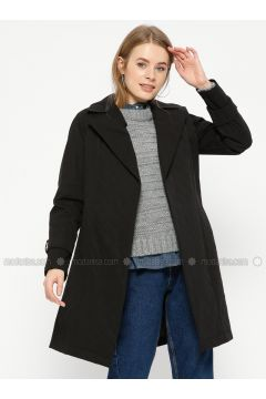 Black - Fully Lined - Shawl Collar - Trench Coat - Pitti Collection(110322747)