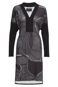 V-Neck Dress Kleid Knielang Schwarz DIANA ORVING(114163087)