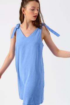 Vero Moda V Yaka Mavi Elbise(113981009)