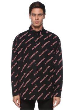Balenciaga Erkek Siyah Kırmızı Polo Yaka Logo Desenli Gömlek 42 IT(120885140)