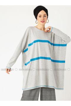 Gray - Stripe - Crew neck - Cotton - Tunic - PLİSTRE(110317918)