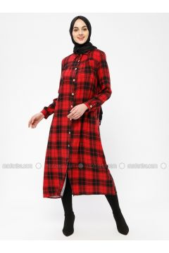 Maroon - Plaid - Point Collar - Unlined - Dresses - SELLY(110330479)