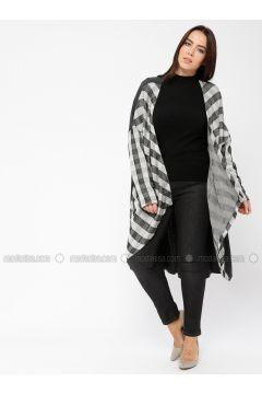 Gray - Checkered - Shawl Collar - Viscose - Cardigan - Minimal Moda(110331285)