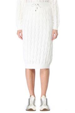 Brunello Cucinelli Kadın Beyaz Saç Örgü Midi Triko Etek S EU(127770384)