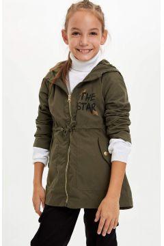 DeFacto Kız Çocuk Kapüşonlu Slogan Baskılı Parka(125915442)