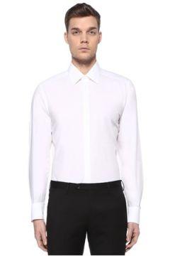 Dolce&Gabbana Erkek Gold Beyaz İngiliz Yaka Logolu Gömlek 42 IT(109109708)