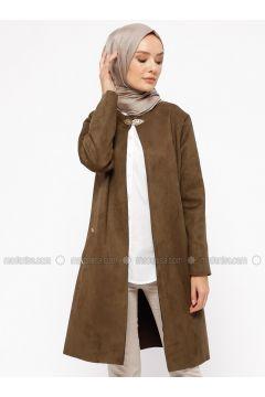 Khaki - Unlined - Crew neck - Jacket - Ginezza(110313078)