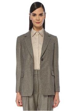 Brunello Cucinelli Kadın Kahverengi Kazayağı Yün Ceket Bej 36 IT(119153481)