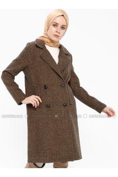 Camel - Fully Lined - Shawl Collar - Coat - Gzd(110337849)