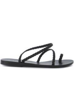 Sandales Ancient Greek Sandals Sandal Eleftheria en peau noire tressée(127907205)