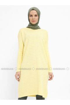 Yellow - Crew neck - Acrylic -- Tunic - Nefise(110335335)