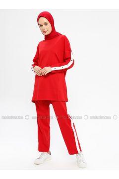 Red - Cotton - Crew neck - Tracksuit Set - Hatun Atila(110332294)