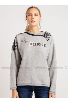 Crew neck - Gray - Sweat-shirt - NG Style(110341163)