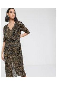 Soaked In Luxury - Vestito midi con stampa leopardata floccata-Multicolore(120330439)