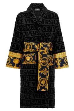Versace Siyah Şal Yaka Logolu Desenli Unisex Bornoz(109148822)