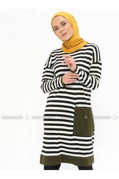 Black - Stripe - Crew neck - Acrylic -- Tunic - İLMEK TRİKO(110321773)