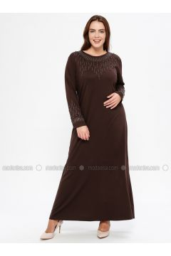 Brown - Unlined - Crew neck - Muslim Plus Size Evening Dress - Havva Ana(110329982)